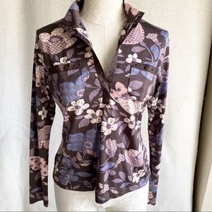 Vintage 70s Flower Power Stretch Long Sleeve Top